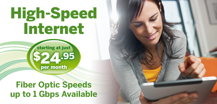 High Speed Internet starting at $24.95/mo